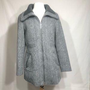 Kensie Tweed Coat with Knit Collar